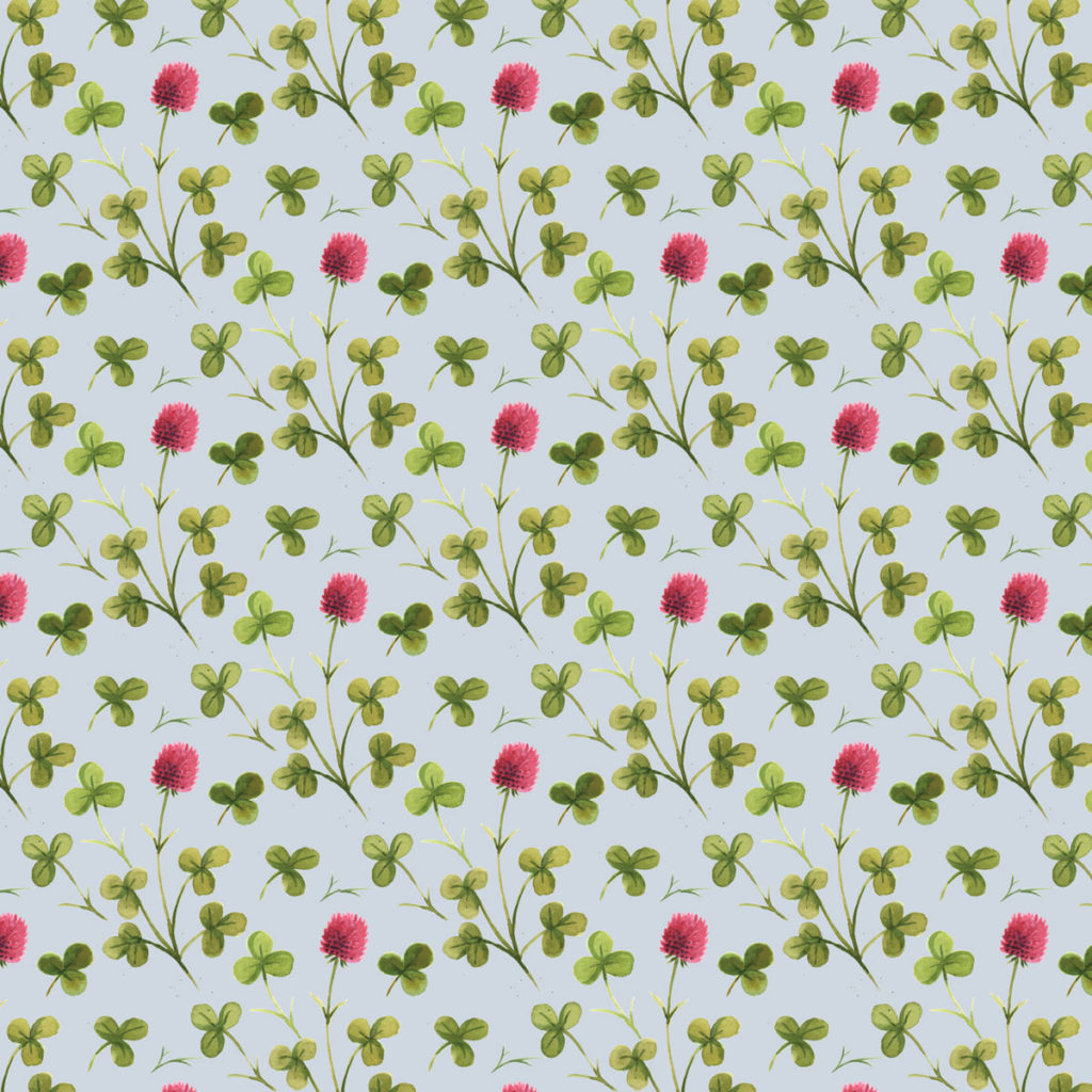 Clover Pattern Surface Design Watercolor © Cynthia Oswald
