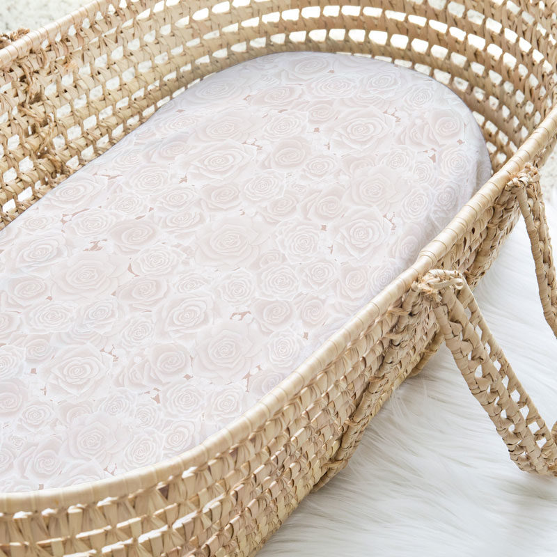 Rose blush pattern crib sheet