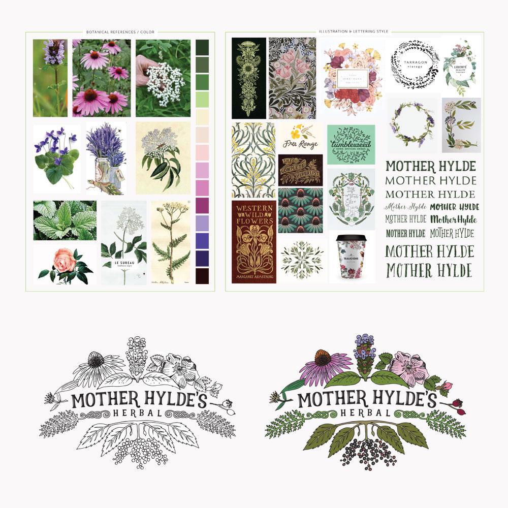 Mother Hylde's Herbal Logo Inspiration