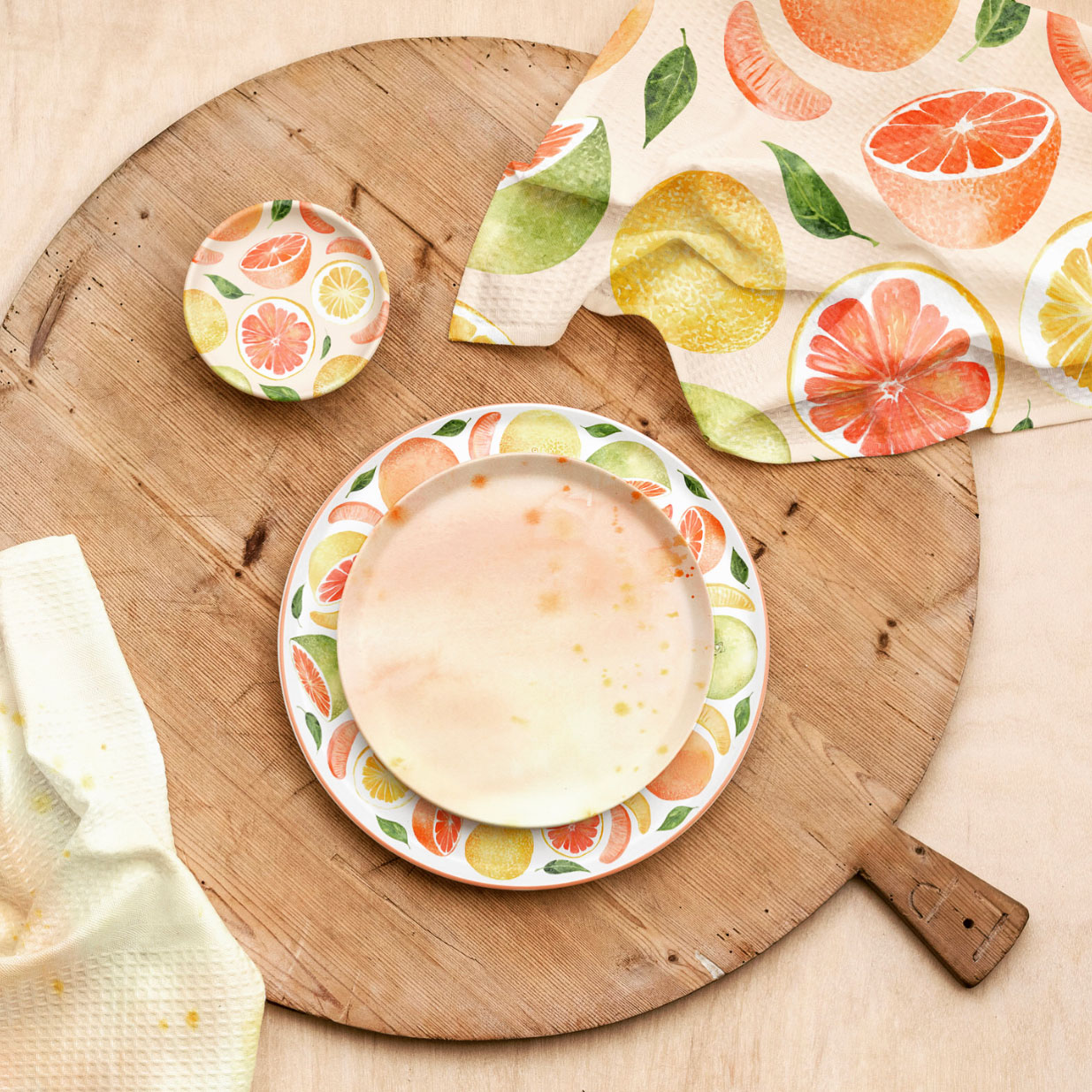 Grapefruit Plates and Napkins
