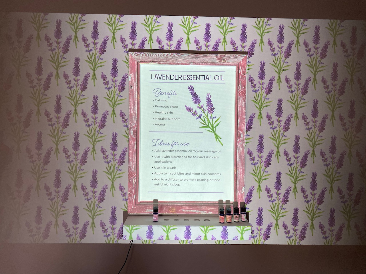 Lavender Essential Oil display